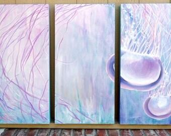 Original Graceful Jellyfish Swimming in Ocean Floating Light Pastel Triptych Panels Art by ChantelKeiko 48x36