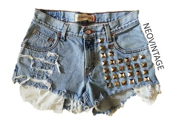 Silver Pyramid Studded Distressed Light Denim High Waisted Shorts