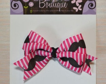 Boutique Style Hair Bow - Pink w/ Mustaches