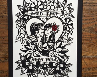 Hold fast, stay true, couple tattoo design papercut template personal use