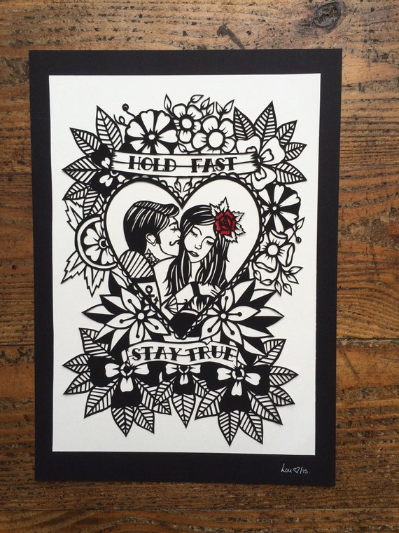 Hold Fast Stay True Couple Tattoo Design Papercut Template