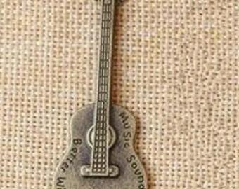 DIY  jewelry 10pcs  antiqued bronze cello charm pendant 23x61mm