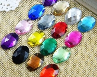 40pcs multicolour Cabochon Cover Cabs Charm Findings oval acrylic glass pendant 18x13mm