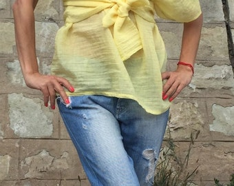 Low Price Now!!!Extravagant Maxi Summer Shirt/Plus Size Blouse/One Size Shirt/\Party Yellow Top