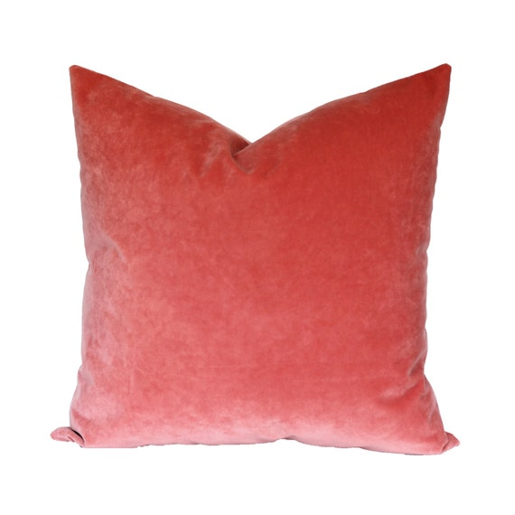 Coral Velvet Pillow Cover - CHOOSE YOUR SIZE