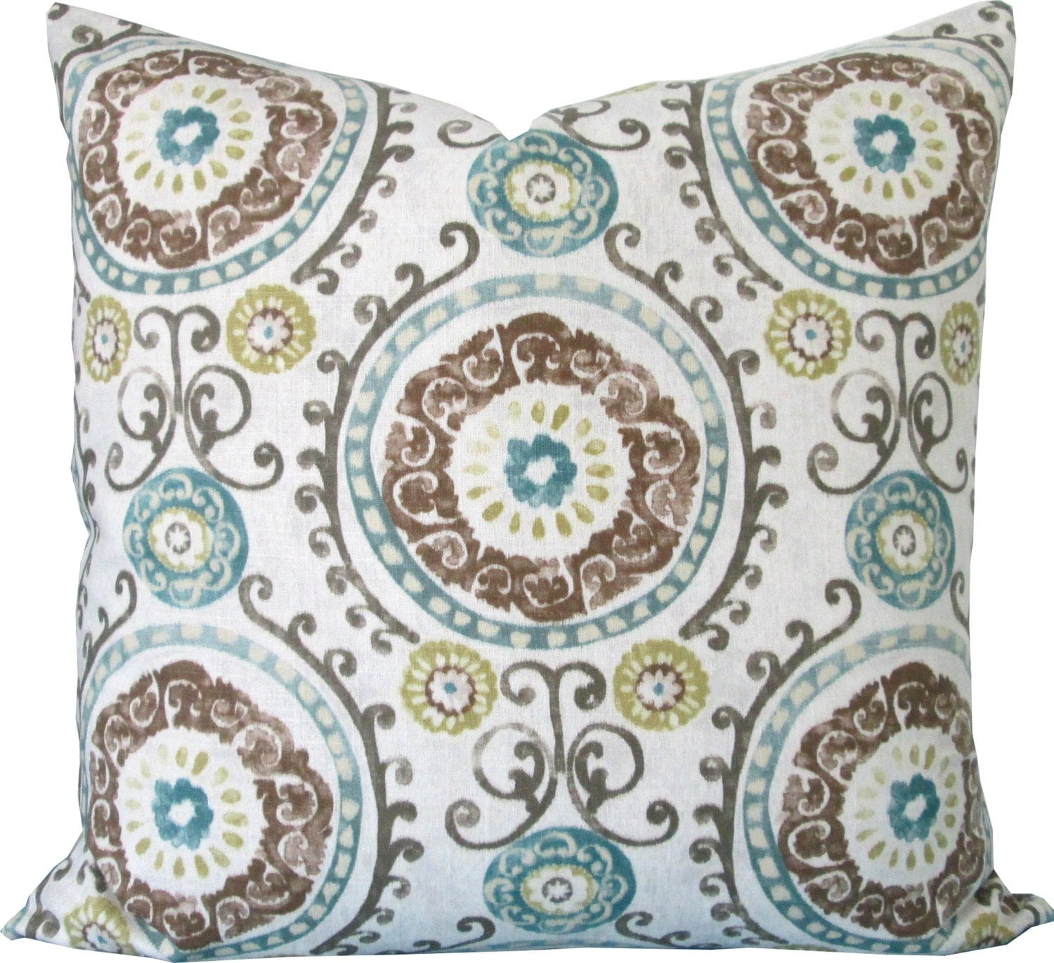 decorative pillow coverteal and brown suzaniaccent by