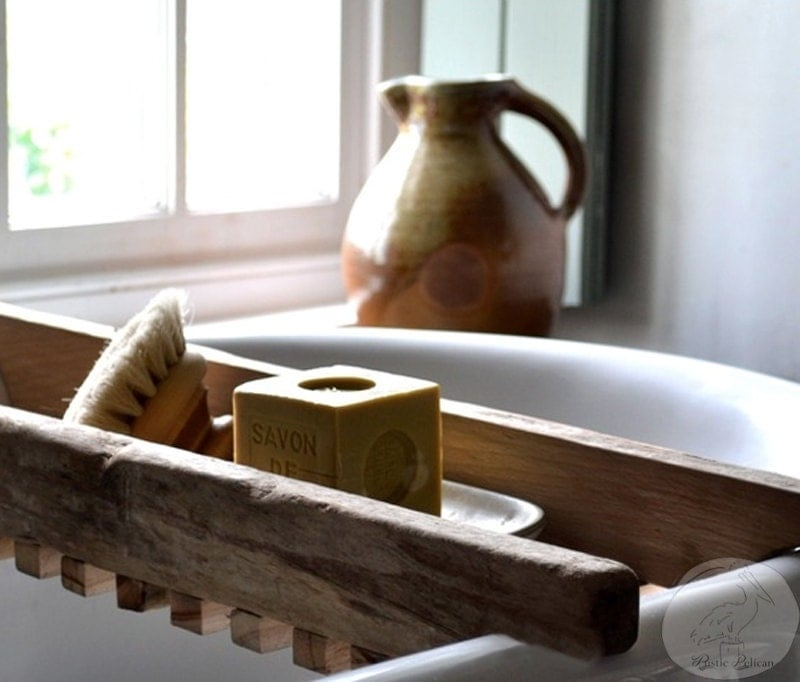 Rustic bathtub caddy bathtub tray reclaimed wood style for Bathroom tray decor