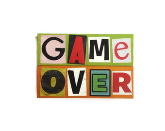 GAME OVER | Fridge Magnets | RETRO | Geek Chic | Home Decor | Office Magnets | Recycled Gift |