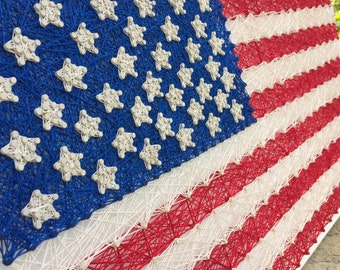 String Art: American Flag, Wall Art, Red White & Blue, All American, Forth of July