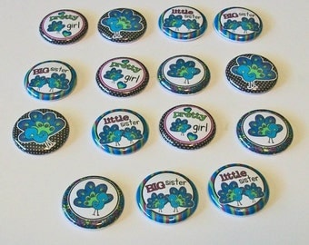 Little and Big Sister Blue and Purple Pretty Peacocks Set of 15 1 Inch Flat Back Embellishments Buttons Flair