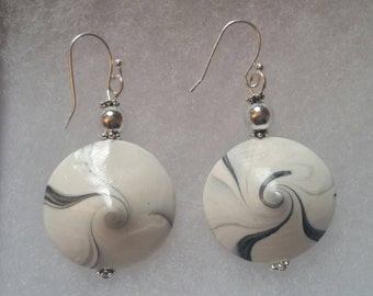 Hand crafted white and black swirl earrings