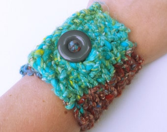 Knit Cuff Bracelet- Cuff Bracelet- Knitted Jewelry- Unique Bracelets- Blue and Green Bracelet- Knit Accessories- Birthday Gifts for Her