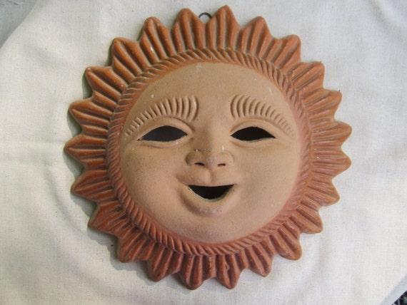 Terra Cotta Clay Sun Face Garden Decor Yard Art Made In Mexico