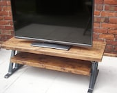 Large rustic tv stand with metal Z frame base for industrial chic