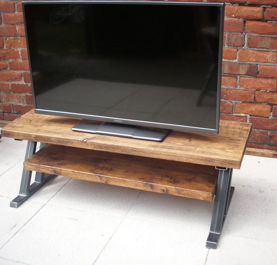 Large rustic tv stand with metal Z frame base for industrial