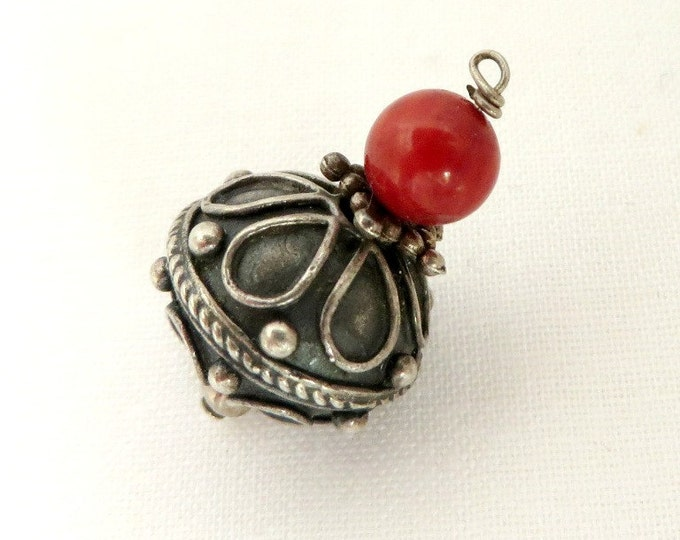 Sterling Silver Scrolled Ornament, Vintage Red Bead Charm