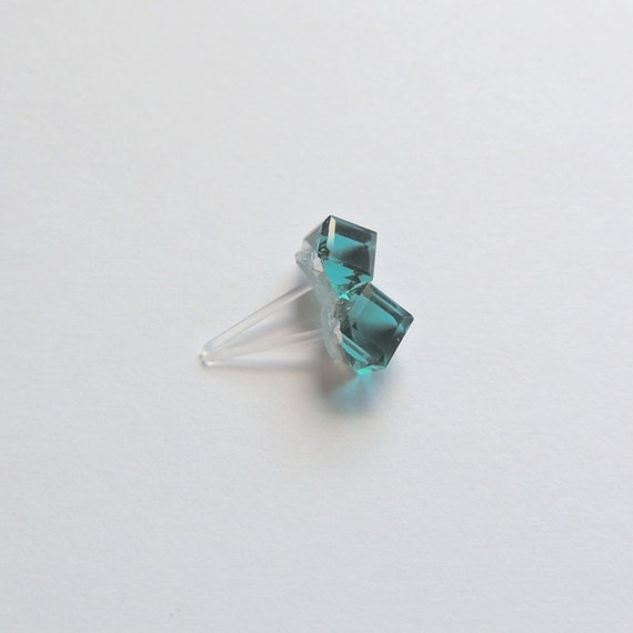 cube post earrings 6mm or 4mm green blue crystals