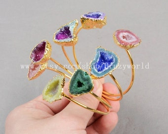 1Pcs Adjustable Handcuff Gold Plated Natural Agate Druzy Geode Bangle Electroformed Drusy Crystal Gemstone Bracelet Geode Jewelry G0232