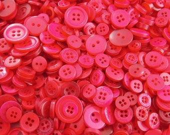 Red Small Mixed Buttons - Bulk/Job Lot/Scrapbooking/Card Making/Crafting