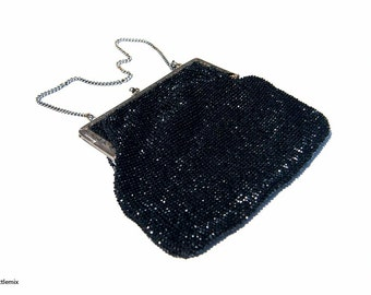 Vintage Black Evening Beaded Clutch Bag/Purse