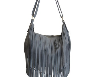 "Bag with fringes hippie-inspired chic grey suede model ""Bangbang"""