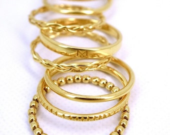 "Ring type weekly vermeil ""Twister"" multiple rings."