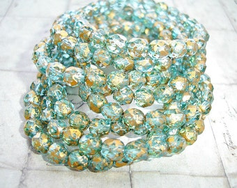 10 Golden Aqua Faceted Fire Polished Beads 6 mm