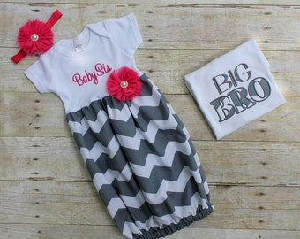 Big Brother Little Sister Set - Grey Chevron - T Shirt - Newborn Gown - Pink - Going Home Outfit - Baby Shower Gift
