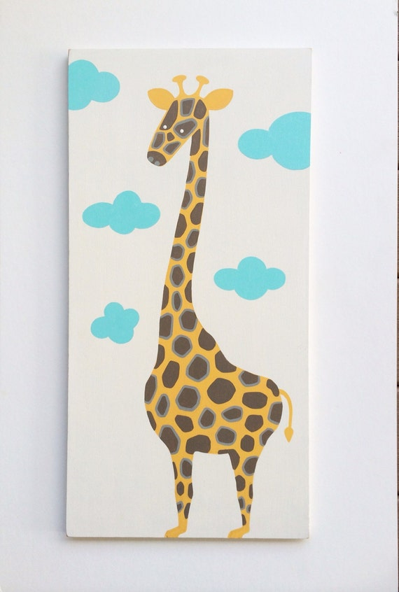 Jungle Wood Wall Decor : Items similar to hand painted giraffe nursery art wood