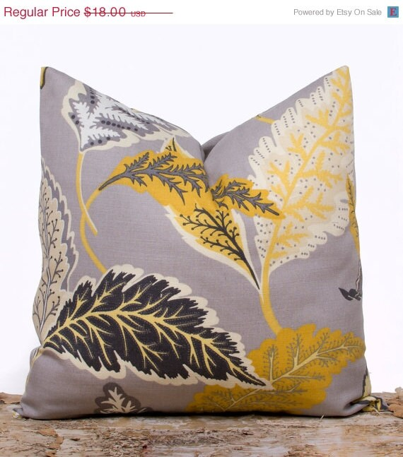 Throw Pillows Groupon : SALE ENDS SOON Gray and Yellow Throw Pillow Cover by LilyPillow