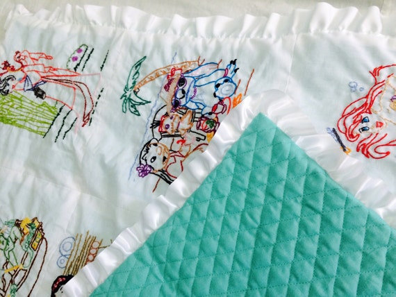Summer Sale, Fifty dollars off Made to Order Handmade Baby or Children's Blanket! Hand embroidered, quilt, hand sewn, keepsake, baby gift