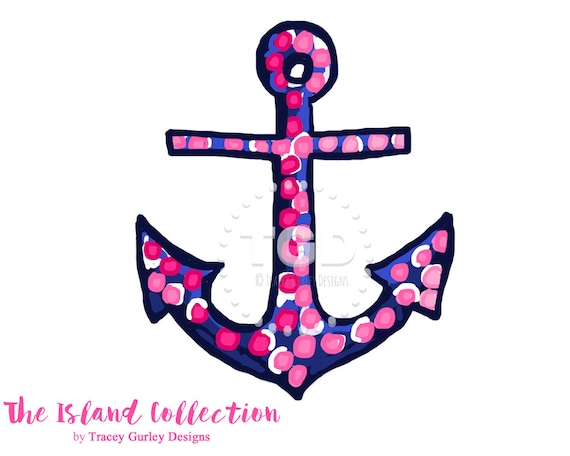 Preppy Pink and Navy Anchor Clip Art Original Art download