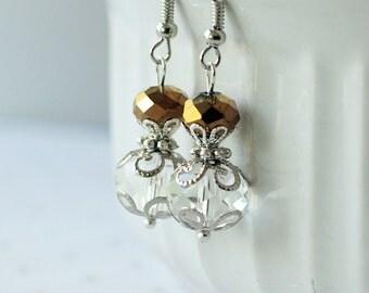 Bronze Crystal Earrings, Dark Brown Bridesmaid Wedding Jewelry Earring Set, Brown Bridesmaid Jewelry Gift, Dark Brown Earrings