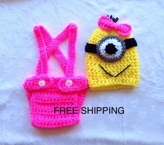 Baby Girl Clothes. Crochet Minion Outfit. by ChildishDreams