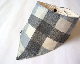 Baby Bib,Drool Bib,Baby Bandana Bib,Reversible,Grey White Plaids,Scarf Bib,Boy,Girl,Simple,Super Soft Japanese Cotton