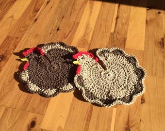 "Set of 2 - 100% Cotton Crocheted Chicken Potholders ""Brown/Cream & Cream/Brown"""