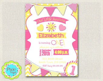 Sunshine Girls 1st 2nd 3rd Birthday Invitation Yellow and Pink Birthday Party Invitation You Are My SUNSHINE Invitations (111np)