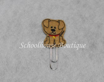 Tan Puppy Dog with Collar felt paperclip bookmark, felt bookmark, paperclip bookmark, feltie paperclip, christmas gift, teacher gift