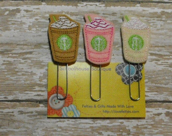 Set of 3 Frappe Coffee felt paperclip bookmark, planner feltie, planner clip, felt bookmark, feltie paperclip, christmas gift, teacher gift
