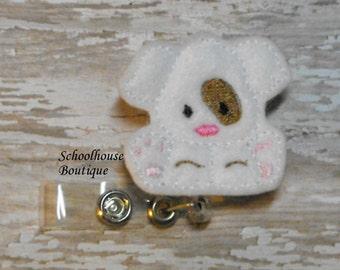 White Puppy Dog felt badge reel, name badge holder, nurse badge, ID holder, badge reel, retractable badge clip, feltie badge reel