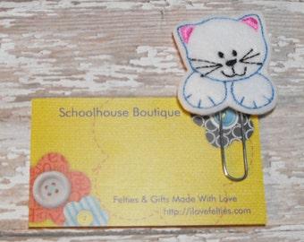 White Kitty Cat felt paperclip bookmark, felt bookmark, paperclip bookmark, feltie paperclip, christmas gift, teacher gift