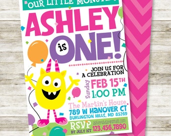 """Girl's Birthday Invitation - Our Little Monster Girl's Birthday Party DIY Printable Invitation in Yellow, Pinks, Greens and Aquas, 5"""" x 7"""""""