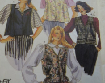 McCalls 0021, UNCUT sewing pattern, unlined vests, misses, womens, sizes 8-, 10, 12, petite-able, craft supplies