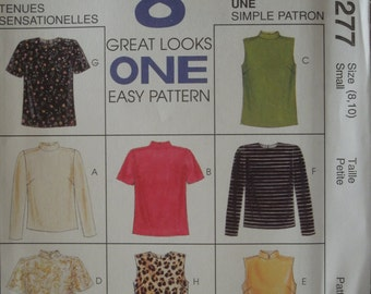 McCalls 8277, Size 8-10, tops, blouses, UNCUT sewing pattern, misses, womens, teens, craft supplies