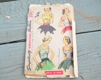 1953 Simplicity 4350 Blouse Sewing Pattern