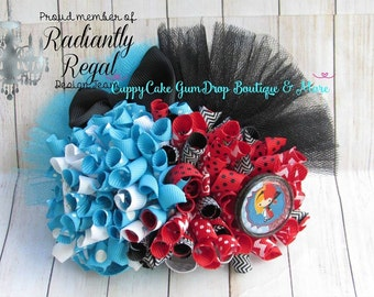 Alice and the Queen Split Funky Loopy Hair Bow - hair bow - hairbow - funky - red- black - white- blue - bow