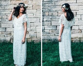 Last one!! Crochet Lace Dress, Crochet Lace Wedding Dress, Boho Wedding Dress, Crochet Lace Ruffle Dress, Vintage Wedding Dress, Scoop Back