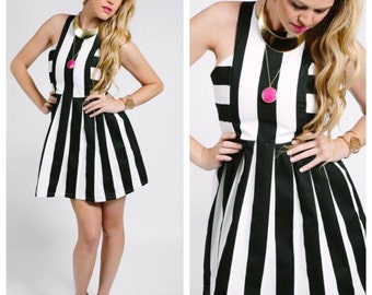 Black and White Stripe Dress, Stripe Dress, black bridesmaid Dress, stripe bridesmaid dress, black and white stripe bridesmaide dress,