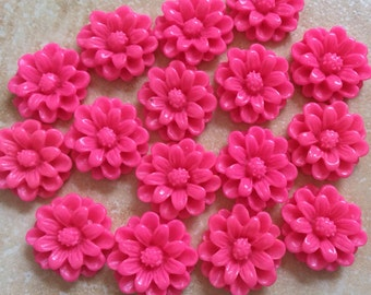 10 pcs 14 mm Hot Pink cabochon Flowers.hot pink flower,hot pink resin flower,flower kit,14 mm hot pink cabochon,bright pink resin flower