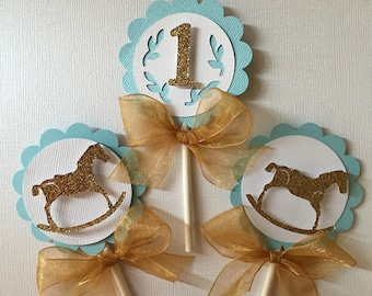 Rocking horse cupcake toppers